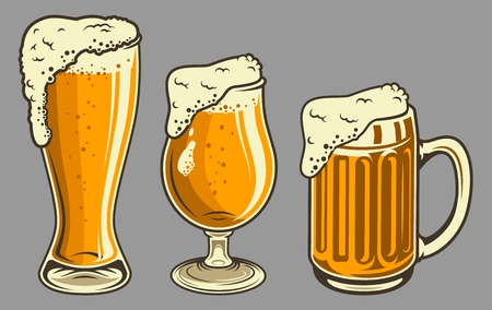 Beer mugs with foam set in vintage style Illustration