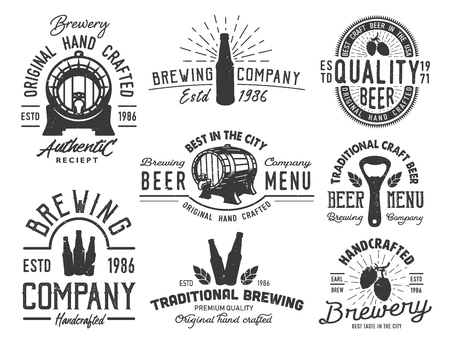 Set emblems with beer objects. Illustration