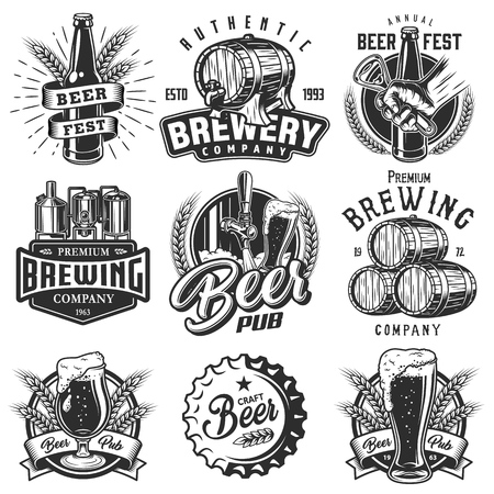 Set emblems with beer objects