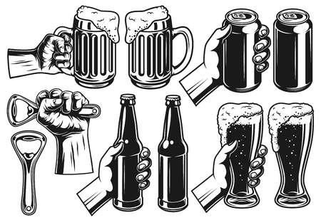 Set of hands with beer in monochrome style. Vintage vector illustration.