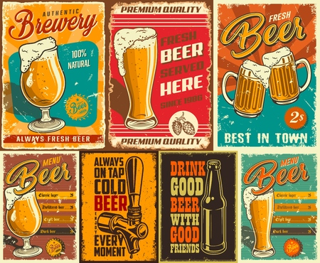 Set of beer poster in vintage style with grunge textures and beer objects. Vector illustration. Çizim