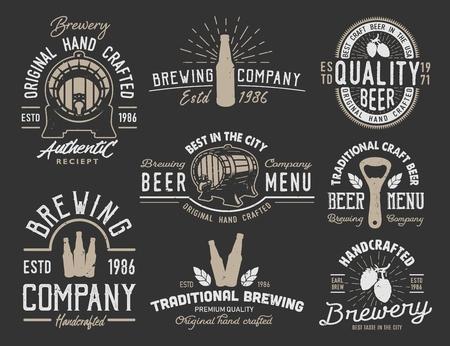 Set emblems with beer objects. Vintage monochrome style. Vector illustration. Illustration