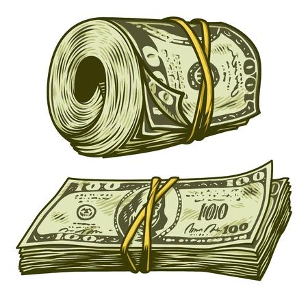 Money bundle isolated  イラスト・ベクター素材