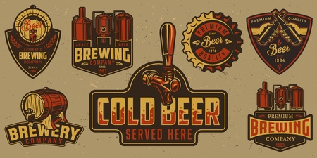Set of brewery badges