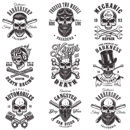 Skull monochrome emblems Stock Illustratie