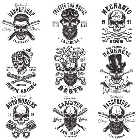 Skull monochrome emblems Illustration
