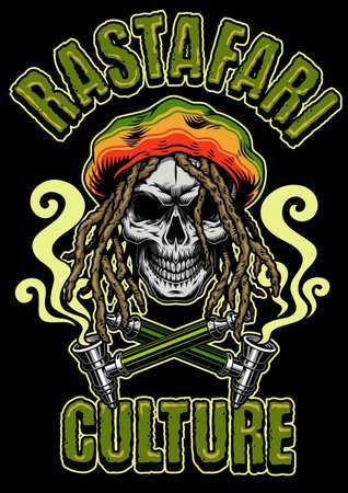 Skull Smoking with Hat, Rastaman Skull poster. Vector illustration.