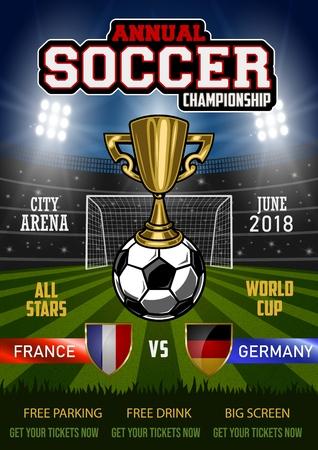 Soccer tournament modern sport poster. Vector illustration