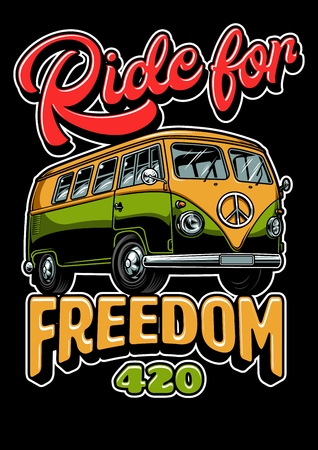 Poster with hippie vitage bus vintage style. Vector illustration Çizim