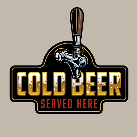 Classic Beer tap gold and silver color. Illustration