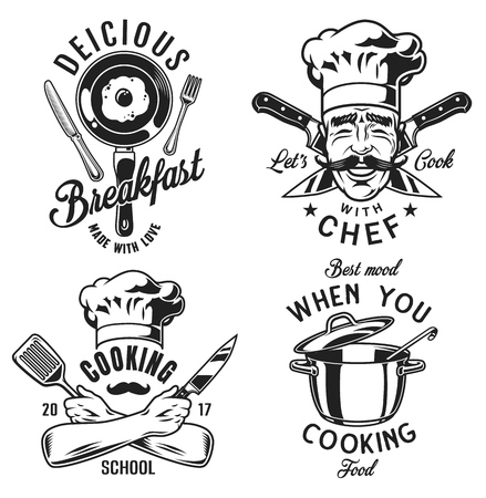 Set of emblems icons for cooking or chef. Vector illustration.