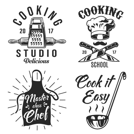 Set of cooking emblems icons on white background Vector illustration.