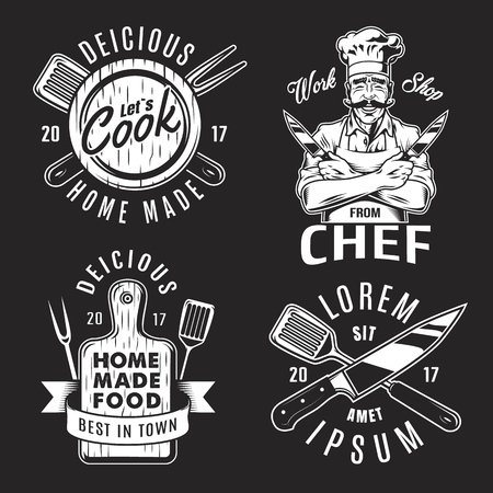 Set of emblems icons for cooking and chef on black background. Vector illustration. Vettoriali