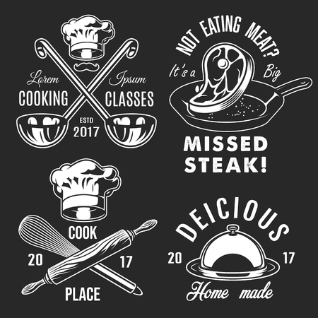 Set of cooking emblems icons on black background. Vector illustration.