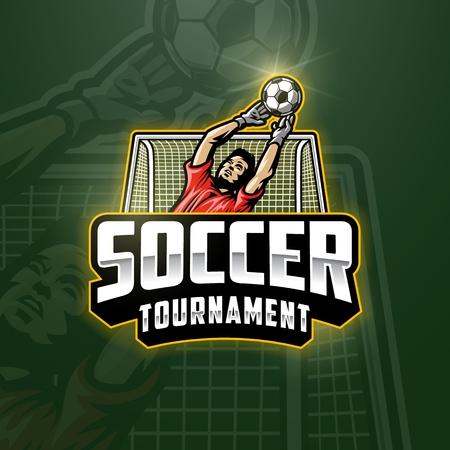 Soccer goalkeeper emblem Vector illustration.