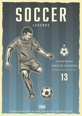 Soccer vintage poster with player kicking ball. Vector illustration. Stock Illustratie