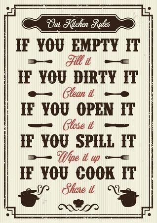Zasady kuchni plakat ilustracji wektorowych.