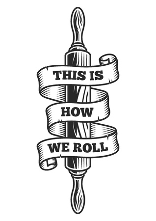 Rolling pin with ribbon Vector illustration.