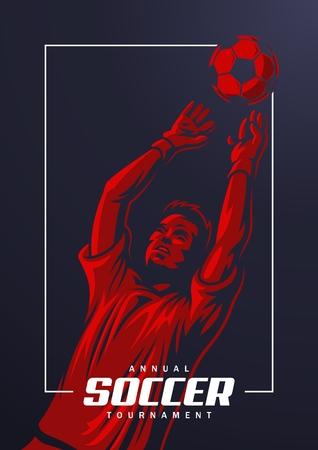 Soccer goalkeeper poster Vector illustration.  イラスト・ベクター素材
