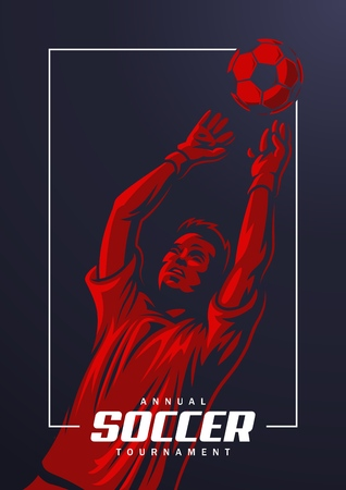 Soccer goalkeeper poster Vector illustration.  イラスト・ベクター素材