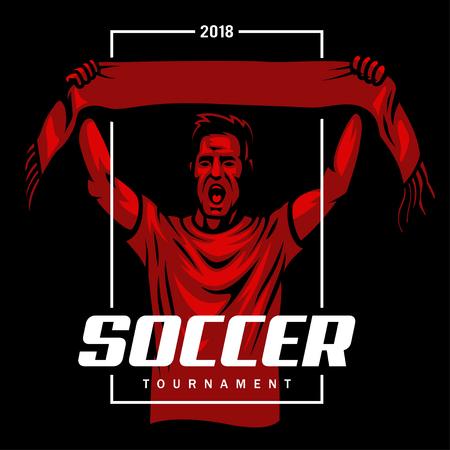 Soccer fan poster Vector illustration.