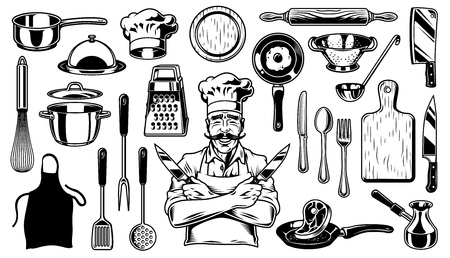 Set of objects for cooking and chef on white background Vector illustration. Çizim