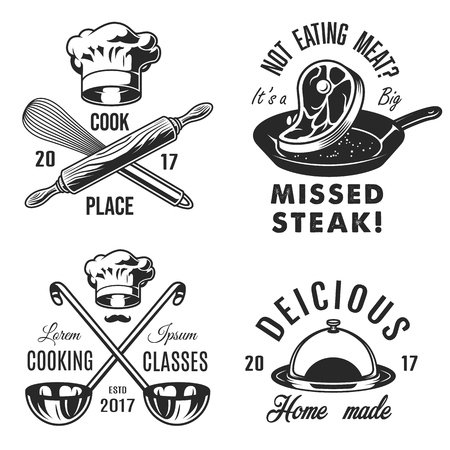Set of cooking emblems icons on white background. Vector illustration.