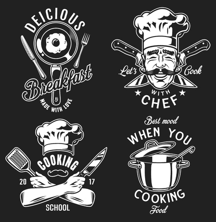 Set of emblems icons for cooking on black background. Vector illustration.