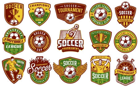 Set of soccer emblems in colour style. Vector illustration Vettoriali