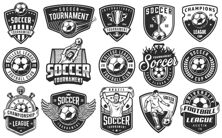 Set of soccer emblems in monochrome style.