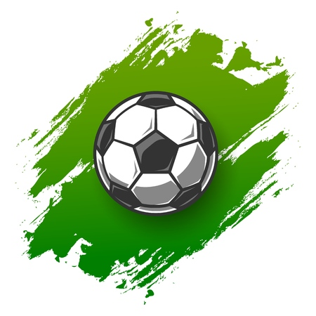 Voetbal grunge achtergrond met bal. Vector illustratie