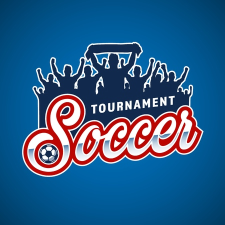 Soccer fans emblem in colour style. Vector illustration