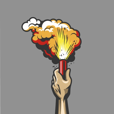 Smoke bomb in hand with red flame. Vector illustration Illustration