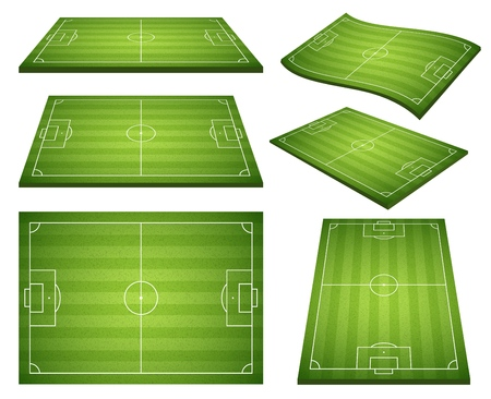 Set of soccer green fields