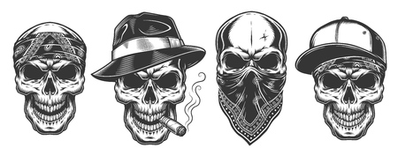 Skulls in monochrome vintage style, gangsters and mafia set. Vector illustration.