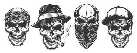 Calaveras en monocromo estilo vintage, gángsters y mafia. Ilustración de vector. Ilustración de vector