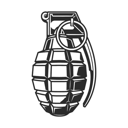 Hand grenade in black white colour. Vector illustration.