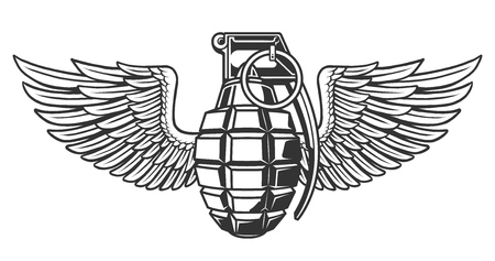 Hand grenade in black white colors with wing. Vector illustration.
