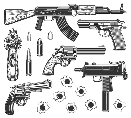 Set of bullet holes and gun