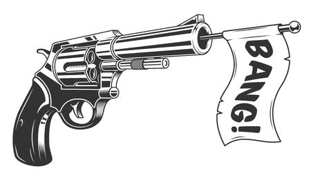 Une arme à feu avec une icône de drapeau bang.