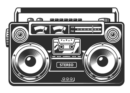 Retro portable stereo radio cassette recorder. Vector illustration.