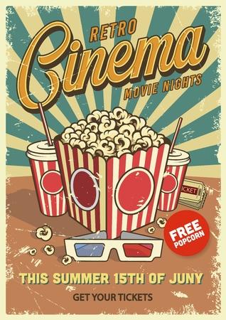 Vintage cinema poster with popcorn cola glasses. Vector illustration.