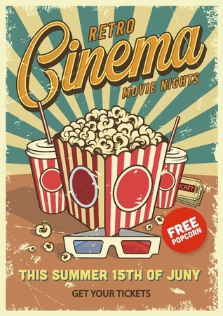 Vintage cinema poster with popcorn cola glasses. Vector illustration.