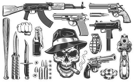 Mafia e gangster insieme di oggetti vintage monocromatici. Illustrazione vettoriale Vettoriali