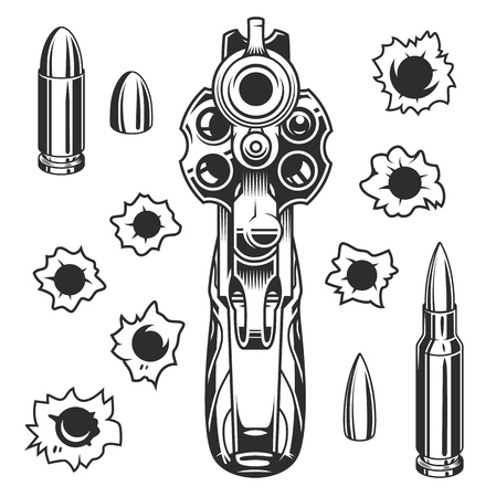 Set of bullet holes with gun. Isolated on white background. Vector illustration.