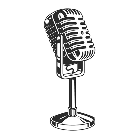 Retro microphone. High detailed object in monochrome style. Vector illustration Illustration