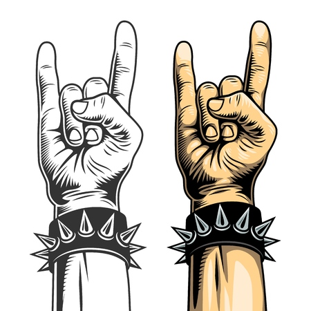 Rock signs, hand collection in two colours. Vector illustration.