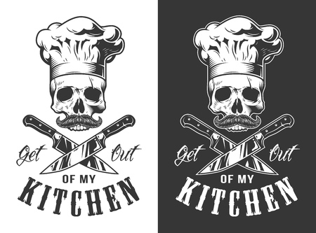 Get out of my kitchen emblem in vintage style. Vector illustration.