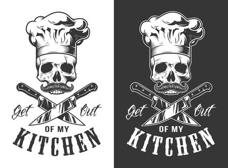 Get out of my kitchen emblem in vintage style. Vector illustration.