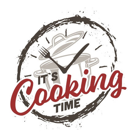 Clock and cooking concept ing gruge style. Vector illustration.